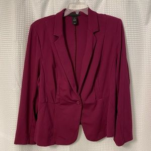 Fuchsia stretch one button blazer